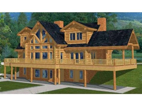 log cabin floor plans with basement two story house plan with walkout basement log house