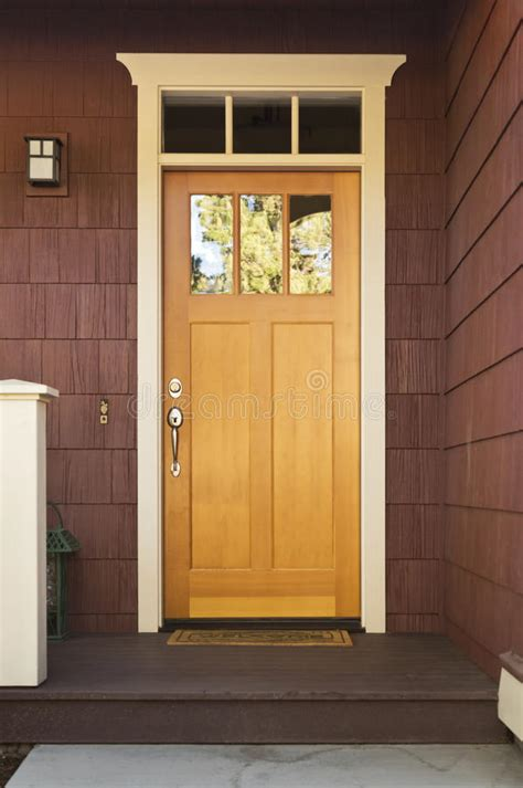 light wood front door   home stock image image