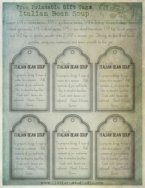printable recipe tags free printable dried soup recipe gift tags little rusted