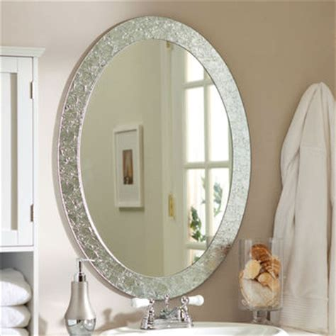 crystal bathroom mirror oval frame less bathroom vanity wall from hearts attic decor