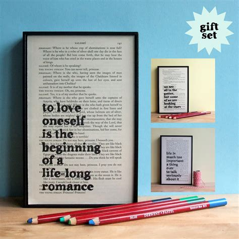 inspirational gifts from the books oscar wilde inspirational quote gift set framed artwork on