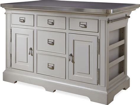 kitchen island with stainless top the kitchen island with stainless wrapped metal top by