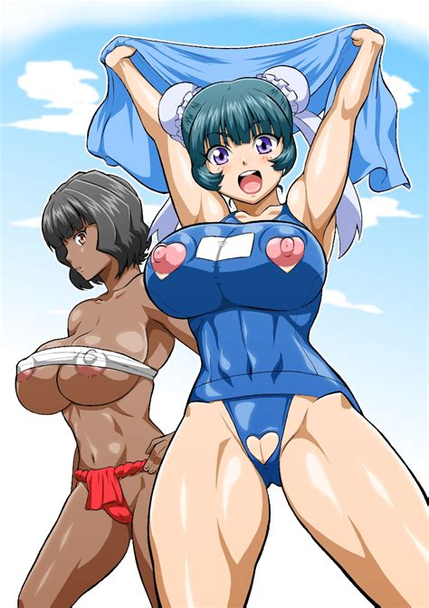 Girls Areolae Arms Up Bare Shoulders Beyblade Beyblade Metal Fusion Big Breasts Black Hair Blue