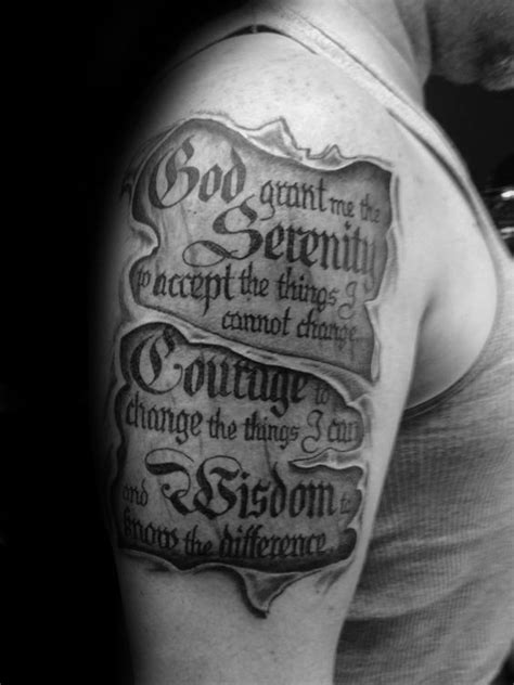 scroll tattoos for men 50 serenity prayer designs for uplifting