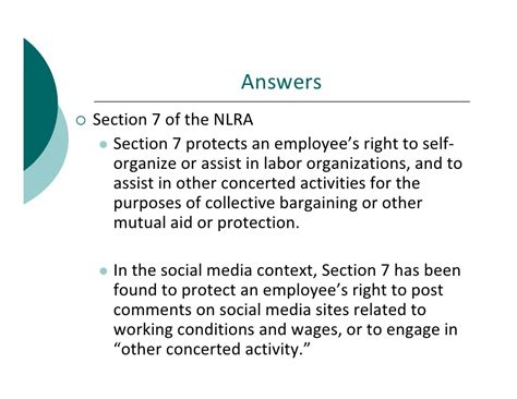 Nlra Section 7 Rights by Social Media Employment Taps 2012
