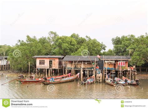 boat house thailand local fishing boats and house thailand stock photo image