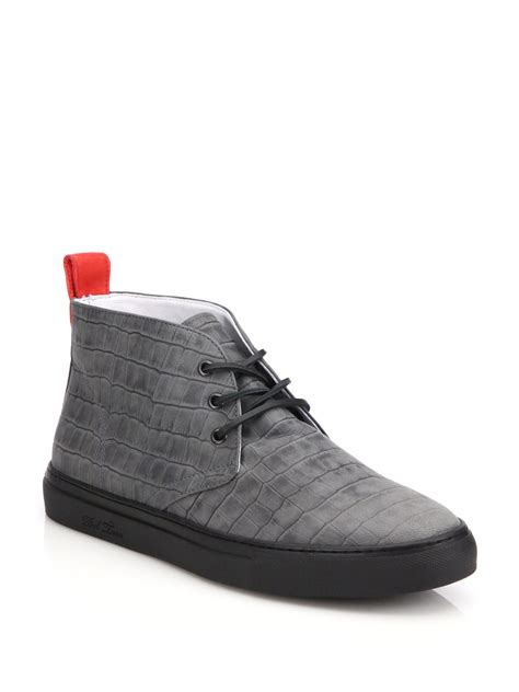 leather chukka sneaker lyst toro croc embossed leather chukka sneakers in