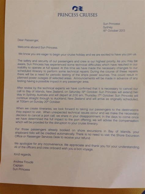 Complaint Letter To Cruise Company Quot Technical Issues Quot Delay Sun Princess Departure From Sydney Cruise News