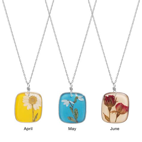 birth month flower necklaces birthday jewelry