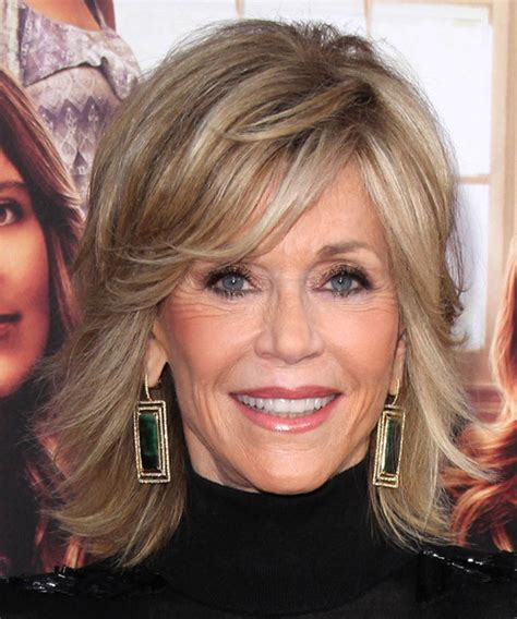Jane Fonda Medium Straight Formal Hairstyle   Medium