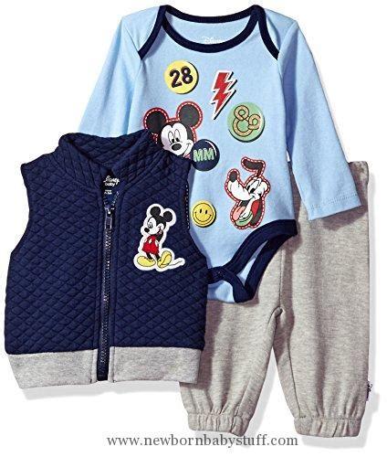 Kpba 09 642 Boy Set baby boy clothes disney baby boys mickey mouse 3 vest bodysuit or t shirt and pant set