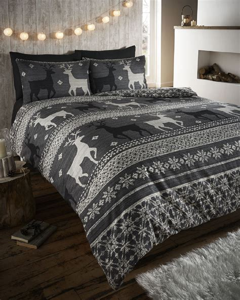 winter bedspreads comforters stag deer winter christmas duvet quilt cover bedding set