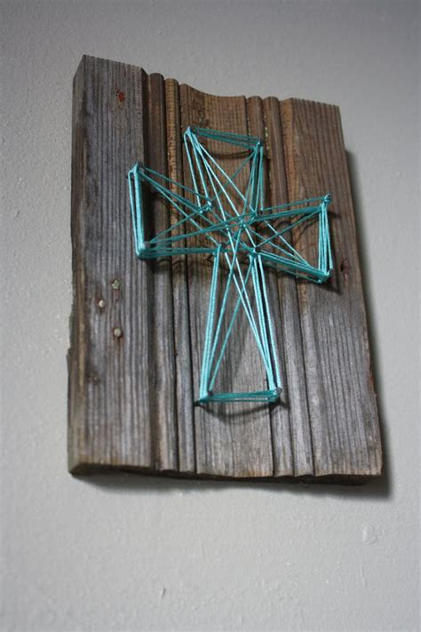 Cross String - reclaimed wood trim with string cross wall decor