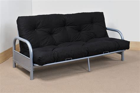 modern three seater silver metal futon sofa bed