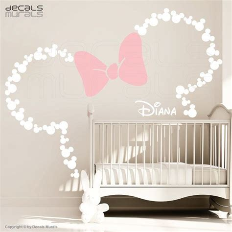 Mickey Mouse Inspired Ears With Bow Personalized Baby Disney Wall Decals For Nursery