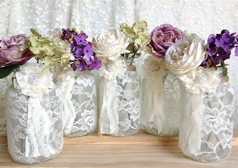 lace home decor 5 ivory lace covered jar for wedding decorations bridal shower decoration home decor