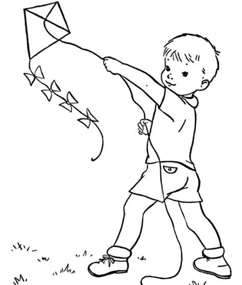 kid playing kite spring coloring page fbc pinterest