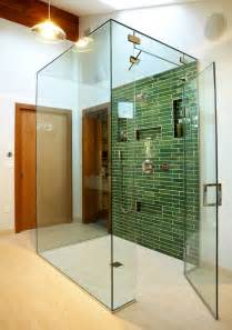 built in shower shelves bathroom contemporary with brown