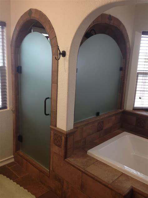 Arched Shower Door Acid Etched With Custom Arch Patriot Glass And Mirror San Diego Ca