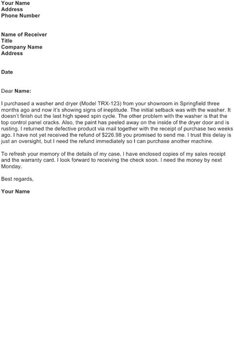 Complaint Letter Of Faulty Product complaint letter sle free business letter
