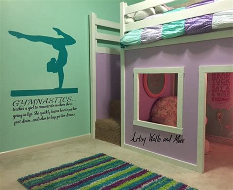 gymnastics bedroom ideas gymnastics wall decal quote teaches a girl to