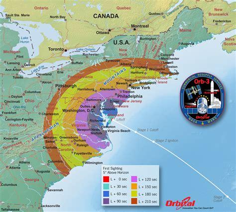 launch maps orbital 3 launch viewing map sight nasa