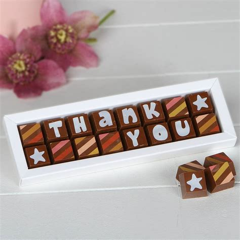 thank you letter chocolate gift personalised chocolates to say thank you by chocolate by