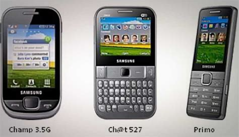 samsung intros three new low cost 3g phones ch 3 5g ch t 527 and primo digit in
