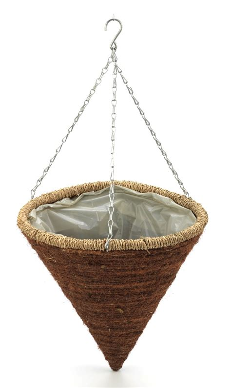 Rope Hanging Planter - rope edged hanging cone planter 35cm 163 5 99