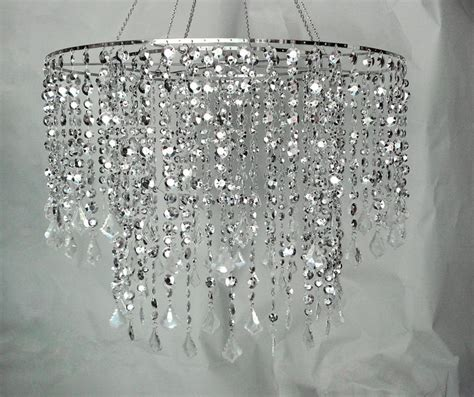 Large Silver Diamond Cut Beaded Chandelier Wedding Decor How To Make A Chandelier With