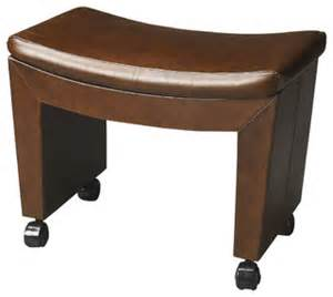 Vanity Stool Casters Butler Loft Bradford Caster Leather Stool Transitional