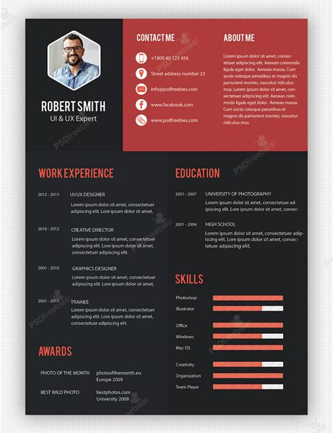 Free Creative Resume Templates by Creative Professional Resume Template Free Psd Psdfreebies