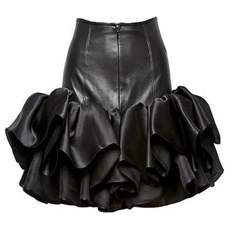 quino leather ruffle skirt leather4sure black leather skirts