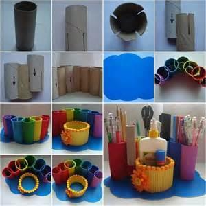 Toilet Desk Organizer Toilet Paper Rolls Into Desk Organizer Diy Home