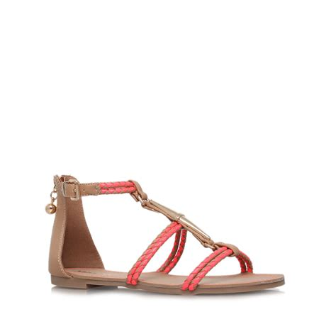 brown strappy flat sandals miss kg rosalie flat strappy sandals in brown
