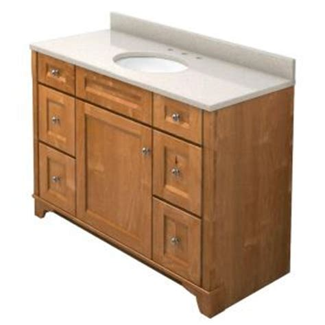 kraftmaid 48 in vanity in praline with quartz