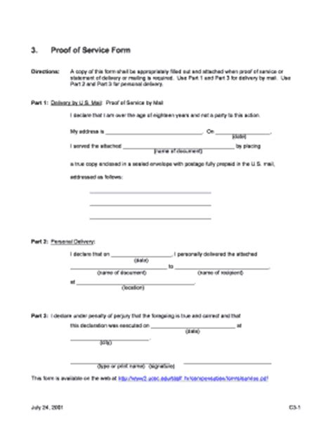 proof of service form fill online printable fillable