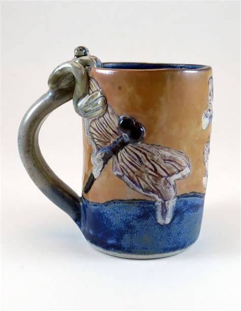 large handmade pottery coffee mug or tea cup with