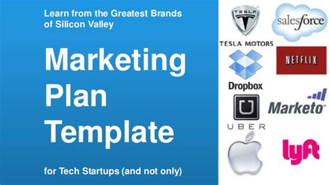 marketing plan template startup marketing plan template for tech startups