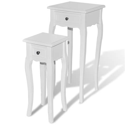 White Side Table With Drawer by White Telephone Side Table With Drawer 2 Pcs Vidaxl