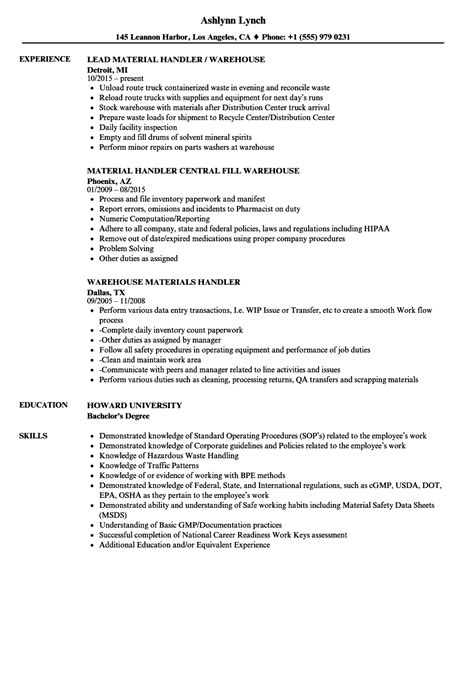 Handling Resume by Warehouse Handler Resume Sles Velvet