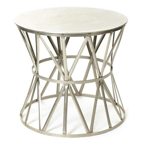 Drum Accent Table Large Steel Top Drum Angle Metal Open Accent Side Table Kathy Kuo Home