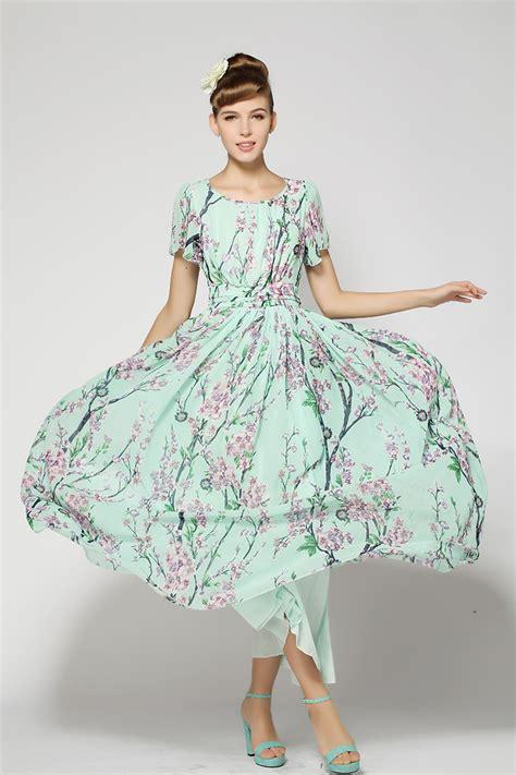 New Print Summer Dress S M L Xl Blue 19036 free shipping 2014 new arrival and summer bohemian print dress floral chiffon