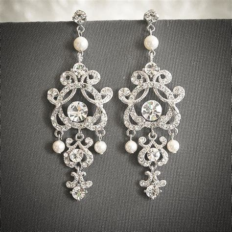 Vintage Style Bridal Pearl Earrings Pearl Earrings Wedding by Vintage Style Wedding Earrings Swarovski Pearl And