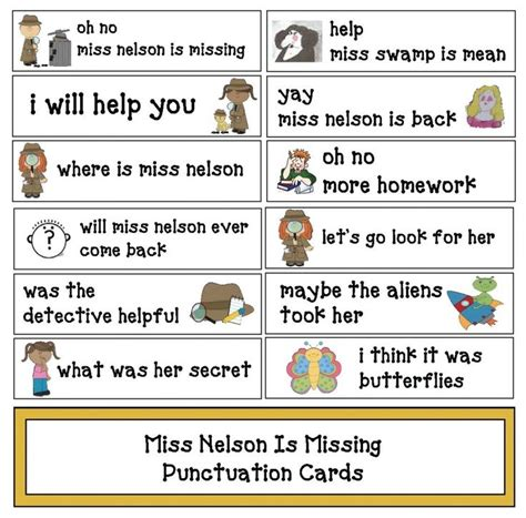 Grammar Letter Writing Exercises free miss nelson is missing punctuation cards students