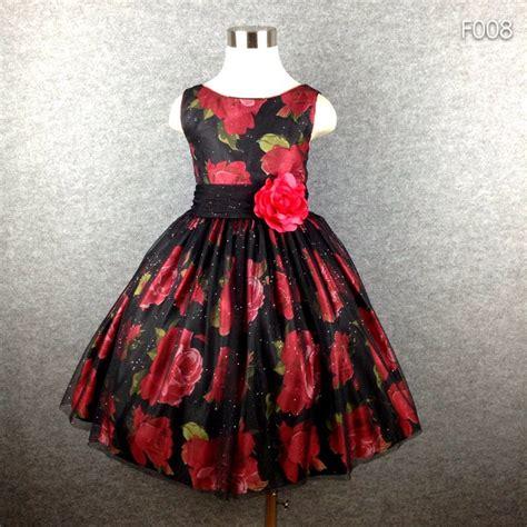 christmas pattern dress top quality flower print girl wedding dresses for