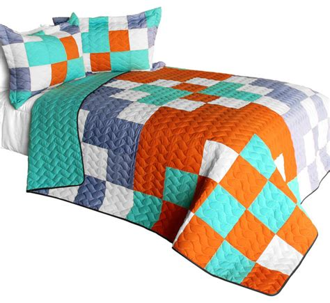 Modern Quilt Set by 3 Vermicelli Quilted Patchwork Quilt Set