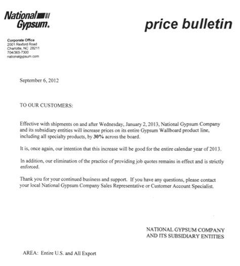price increase letter major drywall price increase coming construction citizen 1544