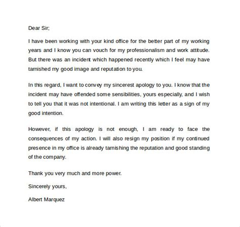 Apology Letter Format To Manager Sle Professional Apology Letter 10 Free Documents In Word Pdf