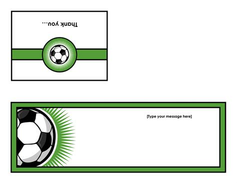soccer thank you card template blank and general office